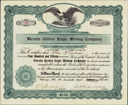 1907 NEVADA GOLDEN EAGLE MINING COMPANY - Winnemucca, Nevada