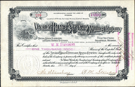 1908 NEVADA HILLS EXTENSION MINING COMPANY - Fairview Mining District, Nevada