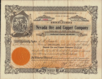 1916 NEVADA ORE AND COPPER COMPANY - Luning, Nevada