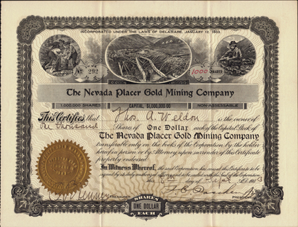 1903 THE NEVADA PLACER GOLD MINING COMPANY - Gardnerville, Nevada