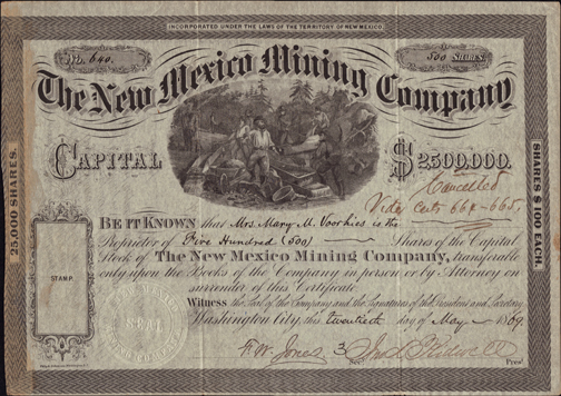 1869 THE NEW MEXICO MINING COMPANY - Territory of NM