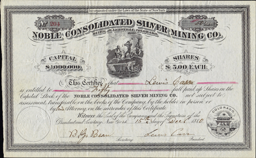 1880 NOBLE CONSOLIDATED SILVER MINING COMPANY - Leadville, Colorado