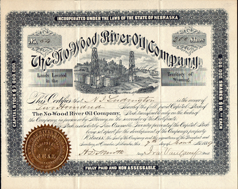 1889 THE NO WOOD RIVER OIL COMPANY - Territory of Wyoming