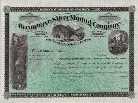 1880s THE OCEAN WAVE SILVER MINING COMPANY - Custer County, Colorado