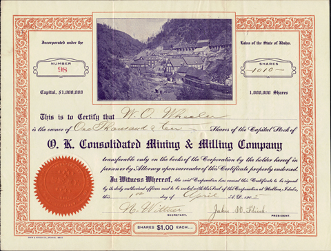 1905 O. K. CONSOLIDATED MINING AND MILLING COMPANY - Shoshone County - Wallace, Idaho