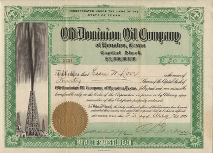 1921 OLD DOMINION OIL COMPANY of HOUSTON TEXAS