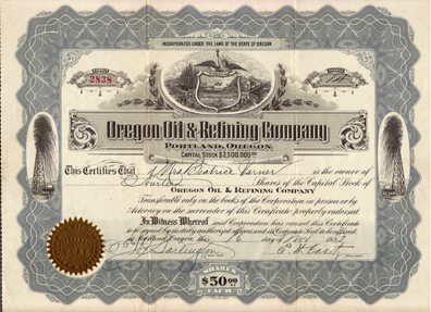 1922 OREGON OIL & REFINING COMPANY