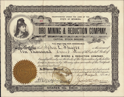 1905 ORO MINING AND REDUCTION COMPANY - Wyoming