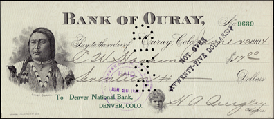 1904 BANK OF OURAY - LARGE-SIZED BANK DRAFT