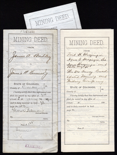 Early OURAY, COLORADO MINING DEEDS - Set of 3