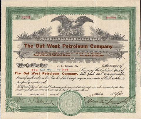 1917 THE OUT WEST PETROLEUM COMPANY - Salt Creek Oil Field, Wyoming - Natrona County