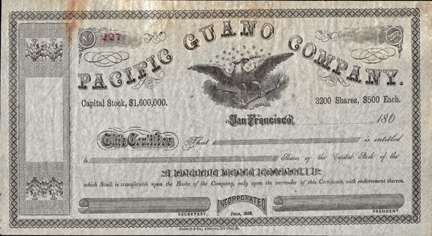 1860s PACIFIC GUANO COMPANY - Office San Francisco, California
