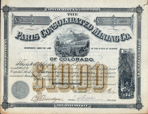 1882 THE PARIS CONSOLIDATED MINING COMPANY - Leadville, Colorado