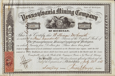 1865 PENNSYLVANIA MINING COMPANY - Michigan