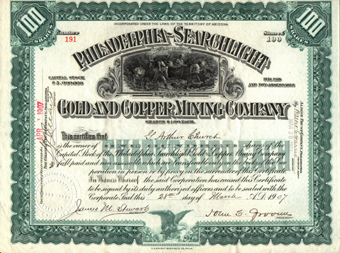 1907 PHILADELPHIA SEARCHLIGHT GOLD AND COPPER MINING COMPANY - Searchlight, Nevada