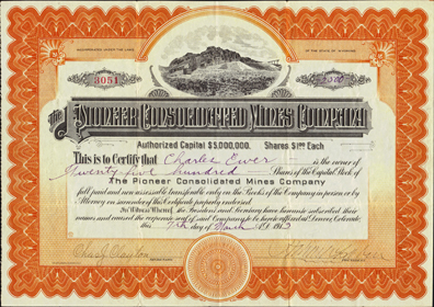 1913 THE PIONEER CONSOLIDATED MINES COMPANY - Bullfrog, Nevada