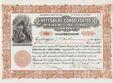 1906 THE PITTSBURG CONSOLIDATED MINING, MILLING AND TUNNEL COMPANY - Idaho Springs, Colorado