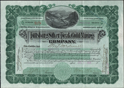 1908 PITTSBURG SILVER PEAK GOLD MINING COMPANY - Silver Peak and Blair, Nevada
