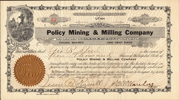 1922 POLICY MINING AND MILLING COMPANY - Utah