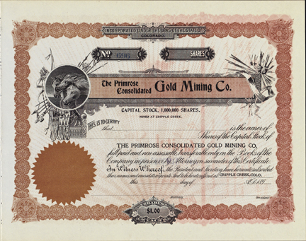 1890s THE PRIMROSE CONSOLIDATED GOLD MINING COMPANY - Cripple Creek, Colorado
