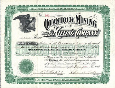 1906 QUANTOCK MINING AND MILLING COMPANY - Coloma, Powell County, Montana