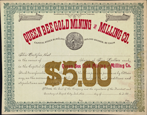 1880s QUEEN BEE GOLD MINING AND MILLING COMPANY - Rapid City, Dakota Territory