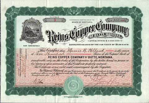 1907 REINS COPPER COMPANY OF BUTTE MONTANA