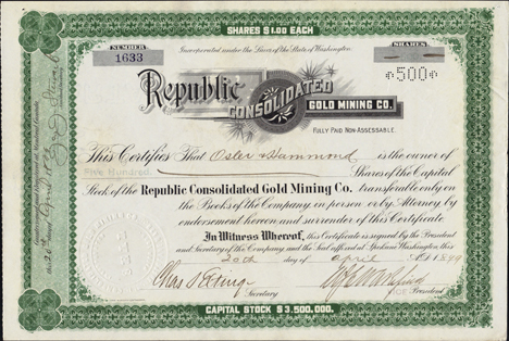 1899 REPUBLIC CONSOLIDATED GOLD MINING COMPANY - Ferry County, Washington