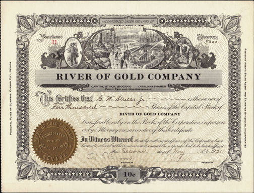 1921 RIVER OF GOLD COMPANY - Carson City, Nevada