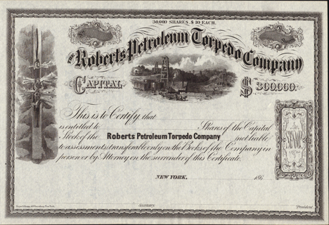 1860s THE ROBERTS PETROLEUM TORPEDO COMPANY - New York