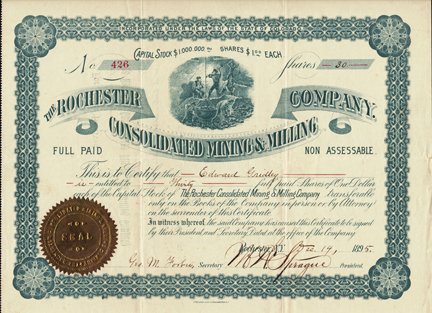 1895 THE ROCHESTER CONSOLIDATED MINING AND MILLING COMPANY - Colorado