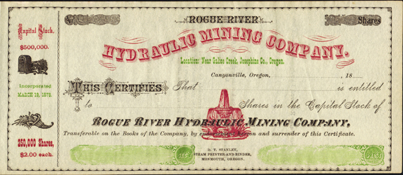 1870s ROGUE RIVER HYDRAULIC MINING COMPANY - Oregon