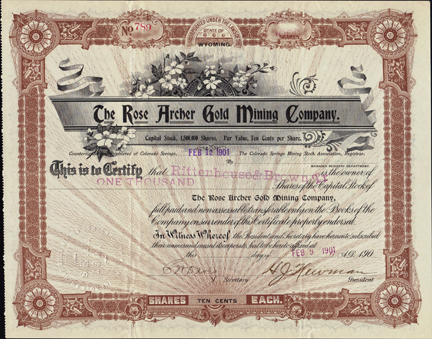 1901 THE ROSE ARCHER GOLD MINING COMPANY - Cripple Creek, Colorado