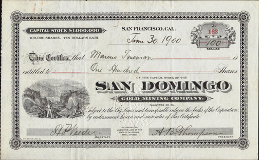 1900 SAN DOMINGO GOLD MINING COMPANY - Calaveras County, California - Hydraulic Mine