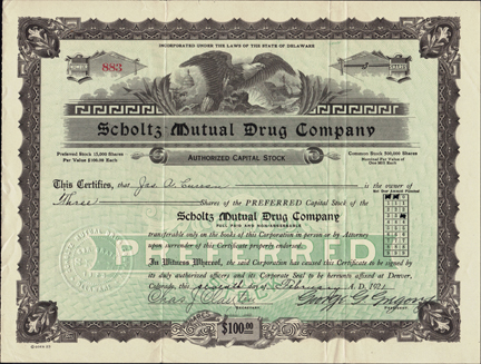 1921 SCHOLTZ MUTUAL DRUG COMPANY - Denver, Colorado