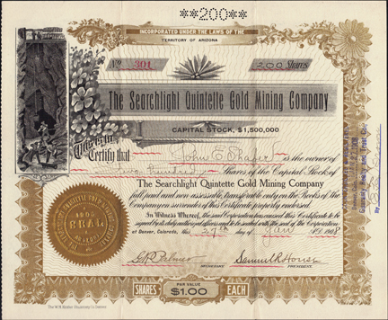 1908 THE SEARCHLIGHT QUINTETTE GOLD MINING COMPANY - Lincoln County, Nevada