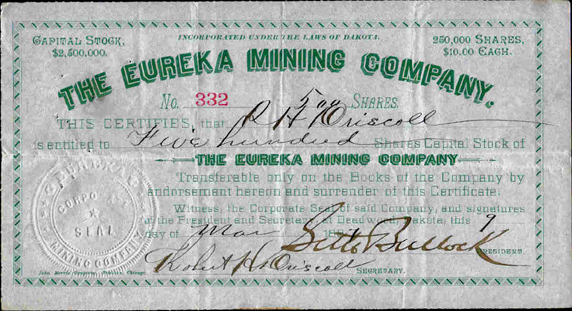 1887 THE EUREKA MINING COMPANY - Deadwood, Dakota - Seth Bullock