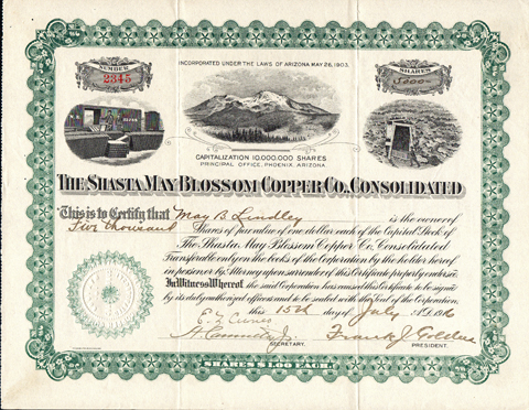 1916 THE SHASTA MAY BLOSSOM COPPER CO. , CONSOLIDATED - Shasta County, California
