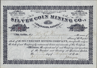 1887 SILVER COIN MINING COMPANY - Deadwood, Dakota Territory