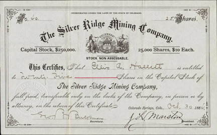 1884 THE SILVER RIDGE MINING COMPANY - Colorado Springs, Colorado