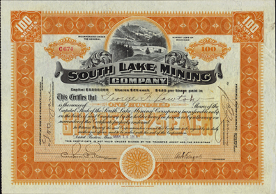 1918 SOUTH LAKE MINING COMPANY - Michigan