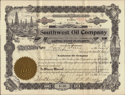 1919 SOUTHWEST OIL COMPANY - Wyoming