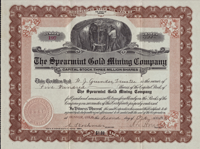 1912 THE SPEARMINT GOLD MINING COMPANY