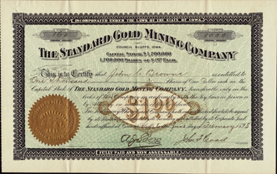 1898 THE STANDARD GOLD MINING COMPANY - Council Bluffs, Iowa