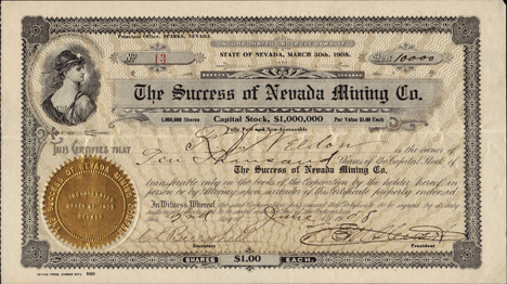 1908 THE SUCCESS OF NEVADA MINING COMPANY - Washoe County, Sparks, Nevada