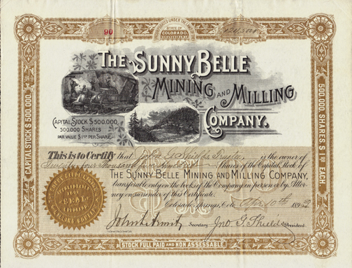 1893 THE SUNNY BELLE MINING AND MILLING COMPANY - Boulder County, Colorado