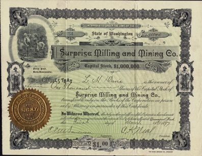 1897 SURPRISE MILLING AND MINING COMPANY - Davenport, Washington