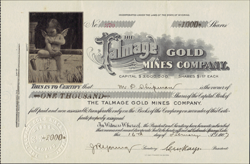 1907 THE TALMAGE GOLD MINES COMPANY - Goldfield, Nevada
