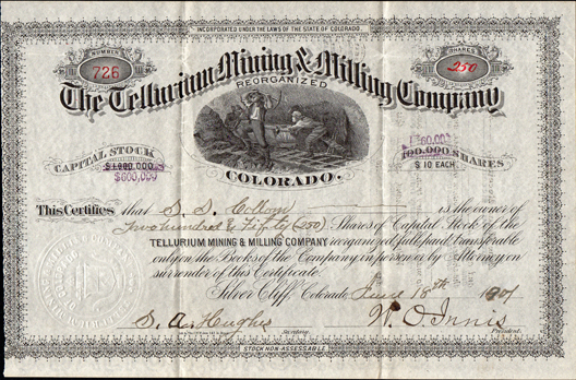 1901 THE TELLURIUM MINING AND MILLING COMPANY - Custer County - Silver Cliff, Colorado