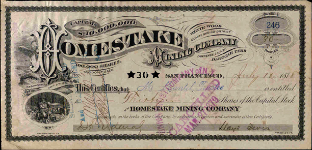 1878 FIRST ISSUE HOMESTAKE CERTIFICATE